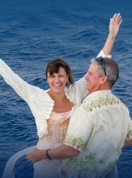 Couple on romantic private tour aboard the Leilani yacht.