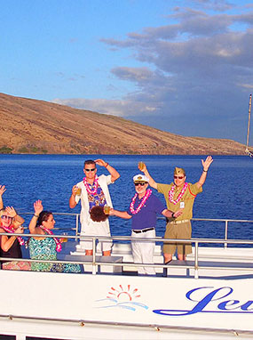 A festive family aboard the Leilani enjoying a private tour.