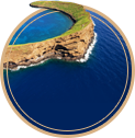 Molokini crater in the deep blue sea.