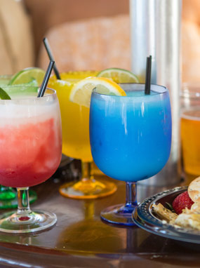 Various colored cocktails.