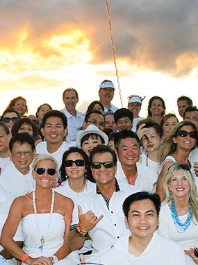 Private party wedding group aboard the Leilani Yacht.